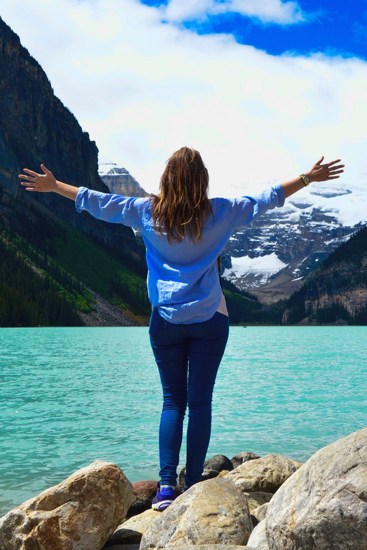 Travel blogger pose at Lake Louise, Canada