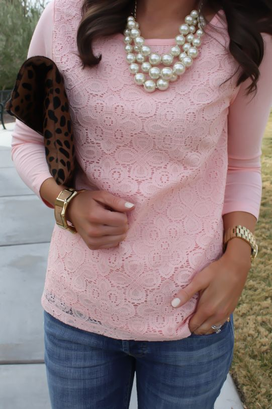Pink lace long sleeve/sweater paired with denim jeans. Leopard print for accessories.