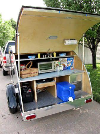 492 best teardrop trailer ideas images on pinterest for Teardrop camper kitchen ideas