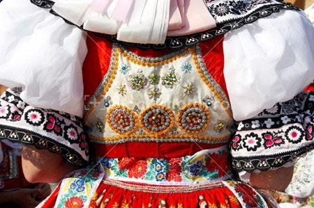 Detail of Moravian folk costume in Dubnany, Czech Republic