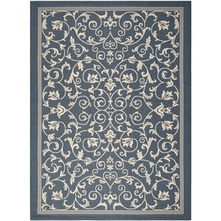 Safavieh Indoor/Outdoor Courtyard Navy/Beige Polypropylene Rug (2' 7 x 5') - Free Shipping On Orders Over $45 - Overstock.com - 15415200