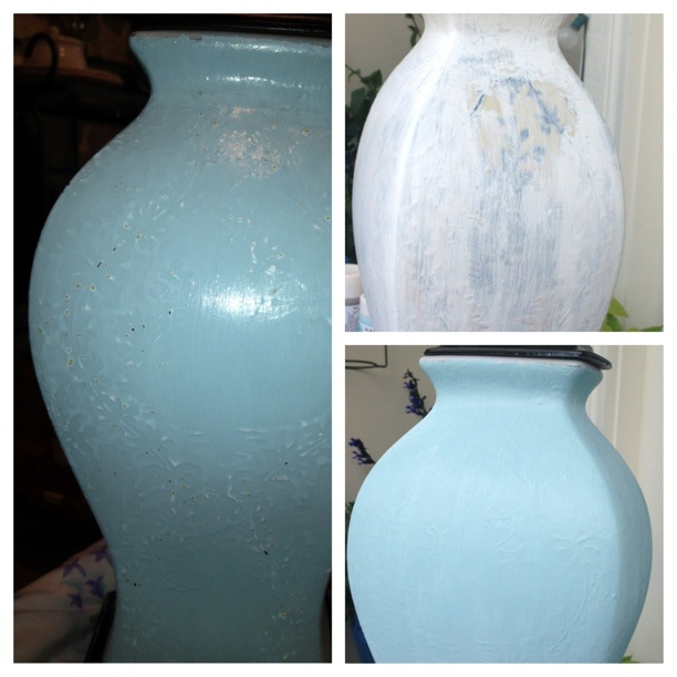 old yellow blue ceramic lamp refurbished with acrylic