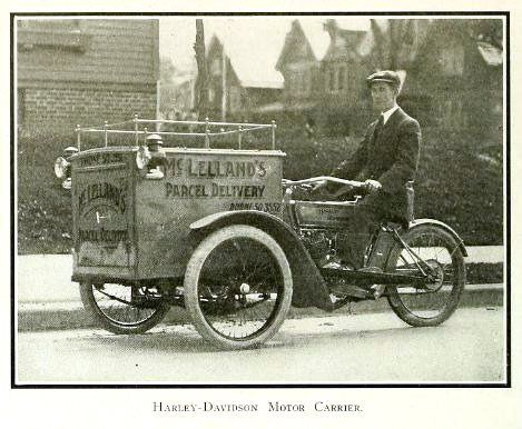 Vintage Photograph of Harley Davidson Motor Delivery Tricycle 1913