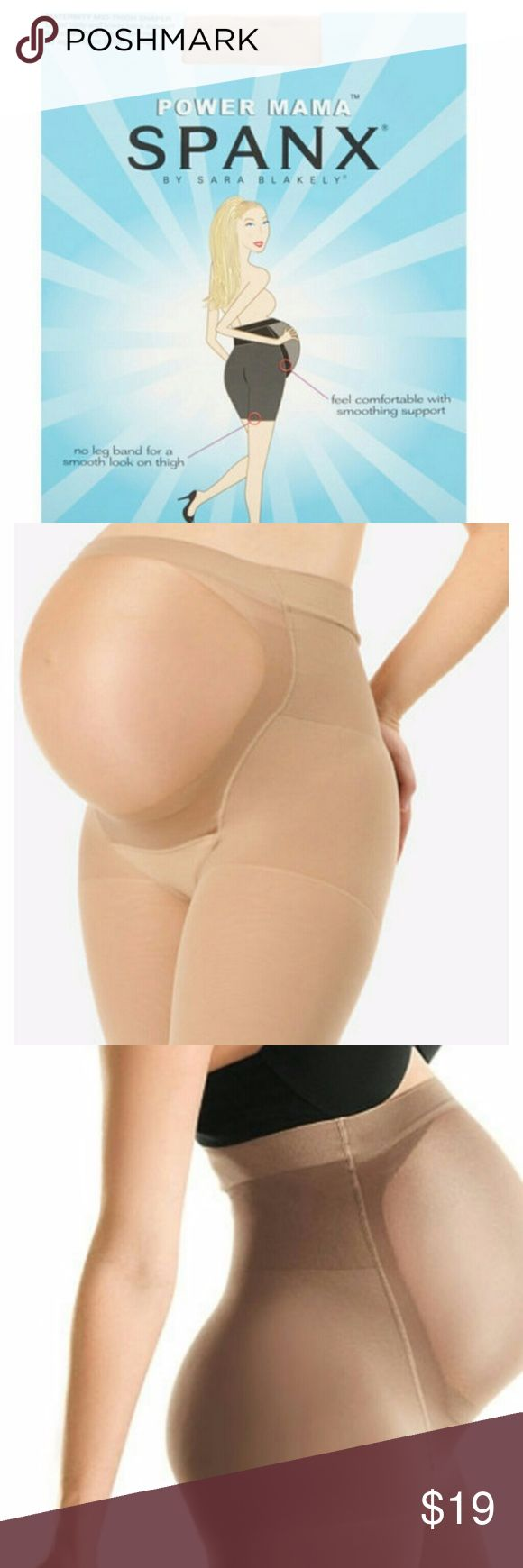 SPANX Power Mama Maternity Shaper Panty Sz A XS -S Maternity mid-thigh shaper. Underbelly and lower back support, smooth hips, thighs and rear. No leg band, no bulge on thigh. Soft sheer tummy panel grows with your belly! Comfortable extra- wide waistband is non-binding. Avoid VPL, (visible panty lines). Color is NUDE. Size is A , XS to S .  No offers on new items, please.  Brand new in package!  Enjoy your pregnancy! SPANX Intimates & Sleepwear Shapewear