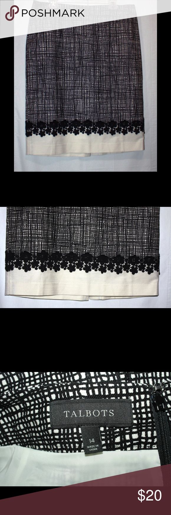 "Talbots Color Block Lace Trim Skirt Beautiful black and white skirt with cotton lace trims. Measurements: Length - 24"", Waist - 36"". Material: 98% cotton, 2% spandex. Talbots Skirts Mini"