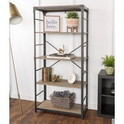 driftwood angle iron bookshelf in 2019 study bookshelves rh pinterest com