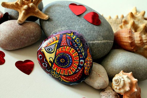 Painted stones colorful fish Zodiac decor pisces star sign