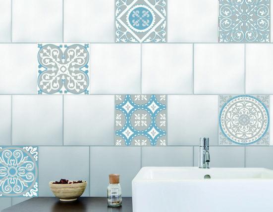 Décoration salle de bain et cuisine - carreau de ciment en trompe-l'oeil souris