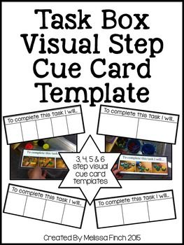Whats Included?This simple template will help build independence for your students during their task box rotations in the classroom. Simply break down simple task boxes into 2, 3, 4 or 5 step directions. Photograph each step and create a cue card template.