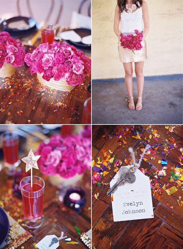 Fuschia + GoldColors Combos, Pretty Parties, All Things Pink, Dinner Parties, Bougainvillea Bouquets, Bridal Shower, Bouquets Ideas, Flower Colors, Parties Time
