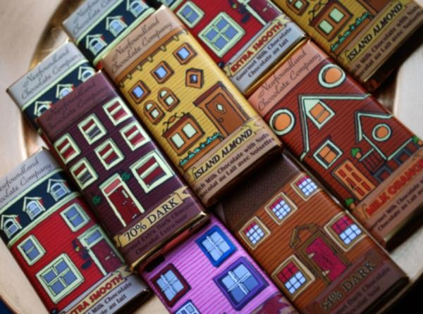 Row house chocolate bars, The Newfoundland Chocolate Co.