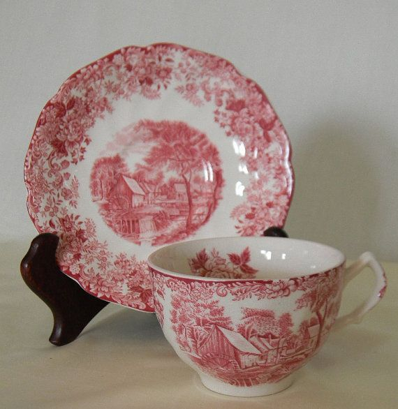 Red Pink Vintage English Transferware Tea by www.nancysdailydish.net  $23.99