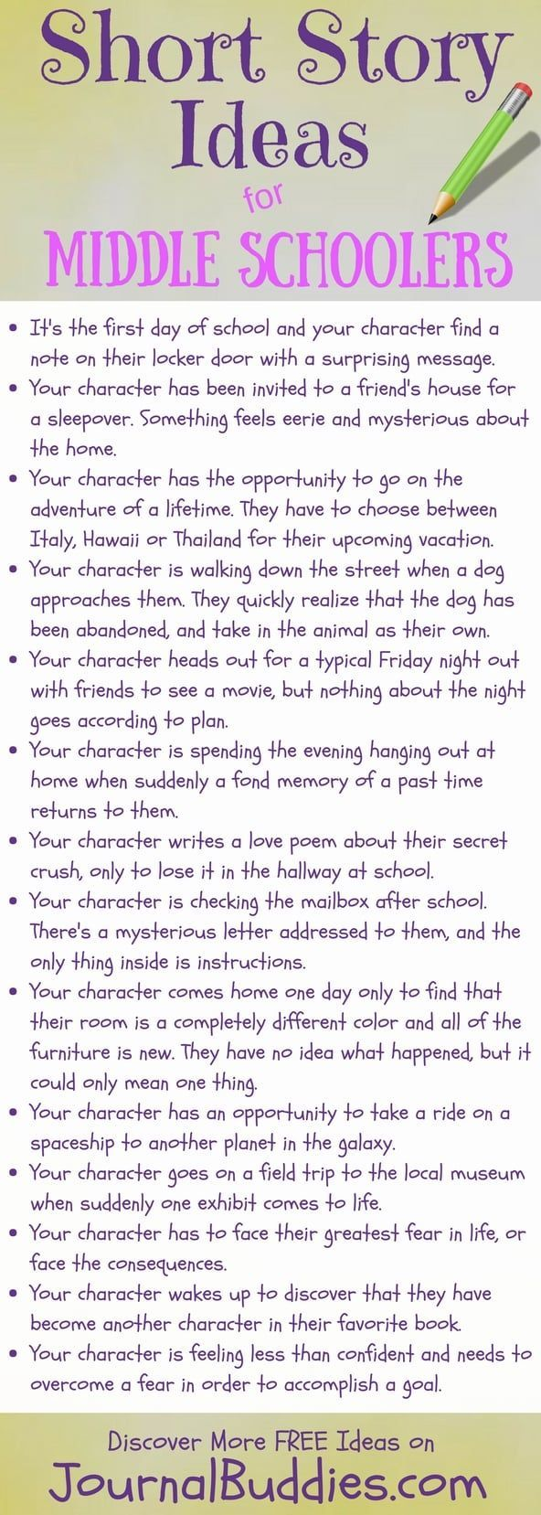 Middle School Short Story Ideas  Middle school writing prompts