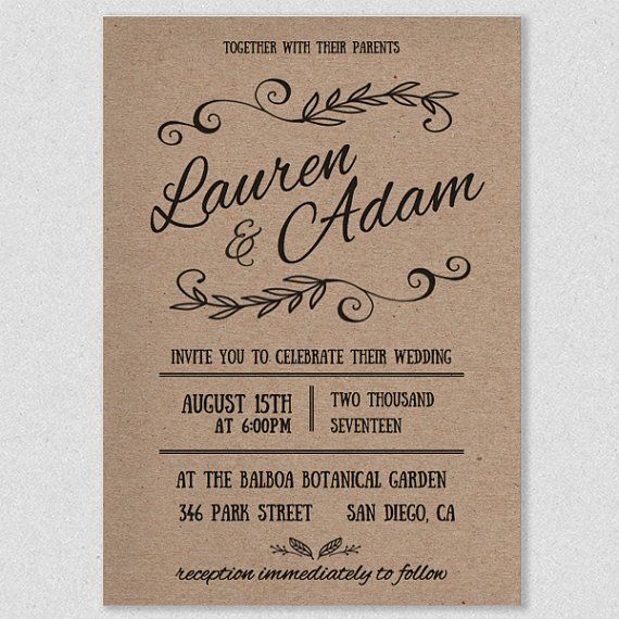 Customizable Printable Wedding Invitation Template RUSTICA by AlchemiePress