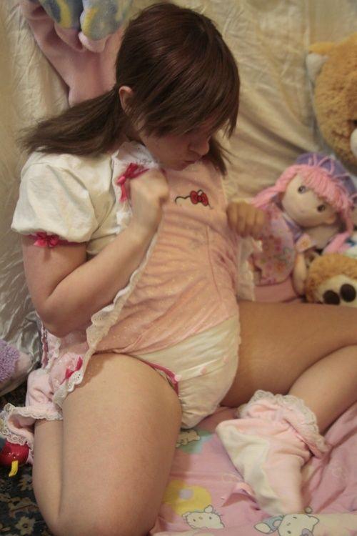 Girl, hot girls wearing adult diaper for masturbation needs