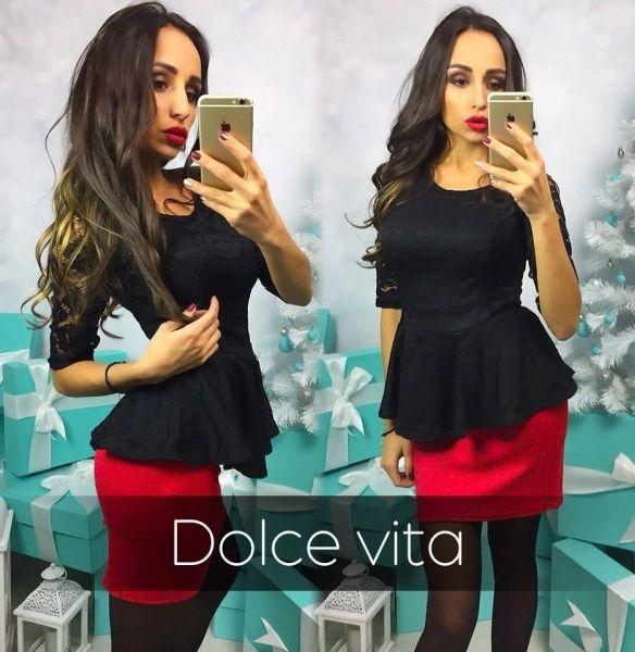 Платье изящное вечернее двухцветное гипюровый верх с воланом черный-красный