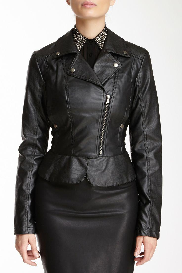 Peplum Faux Leather Motorcycle Jacket | My Style | Pinterest