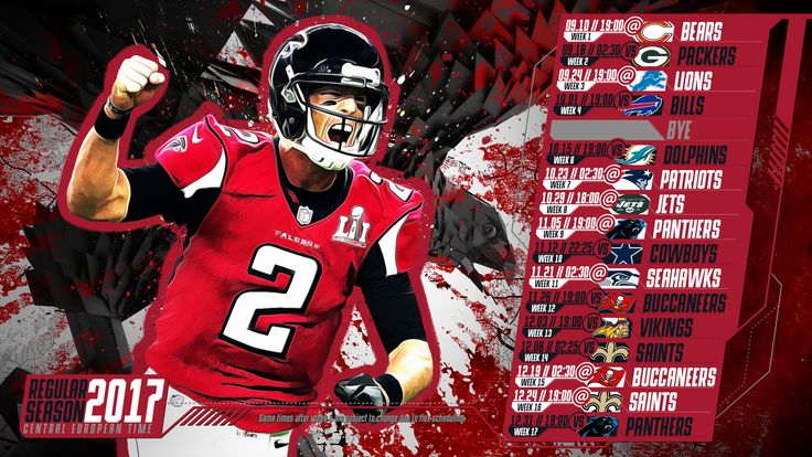 Schedule wallpaper for the Atlanta Falcons Regular Season, 2017 Central European Time. Made by #tgersdiy