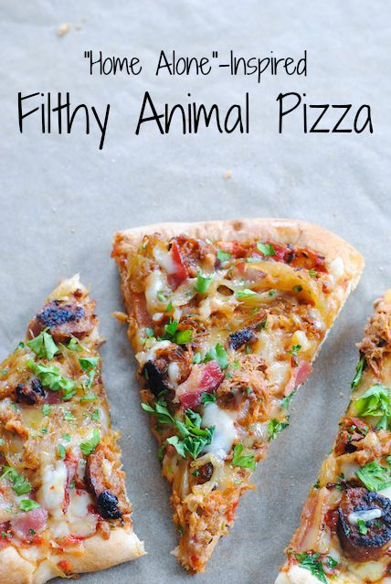 """""""Home Alone""""-Inspired Filthy Animal Pizza - A pork-lovers pizza, topped with sausage, bacon, pulled pork, pepper jack cheese and caramelized onions."""