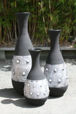 set of 3 -black and silver vases
