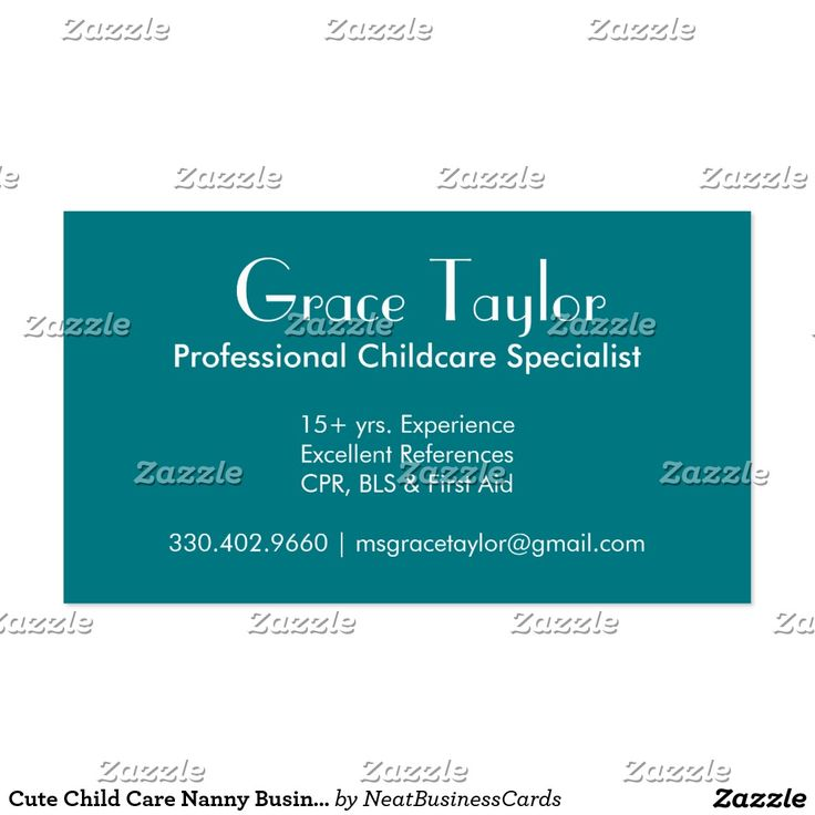 12 best nanny business cards images on pinterest business cards cute child care nanny business cards reheart Gallery