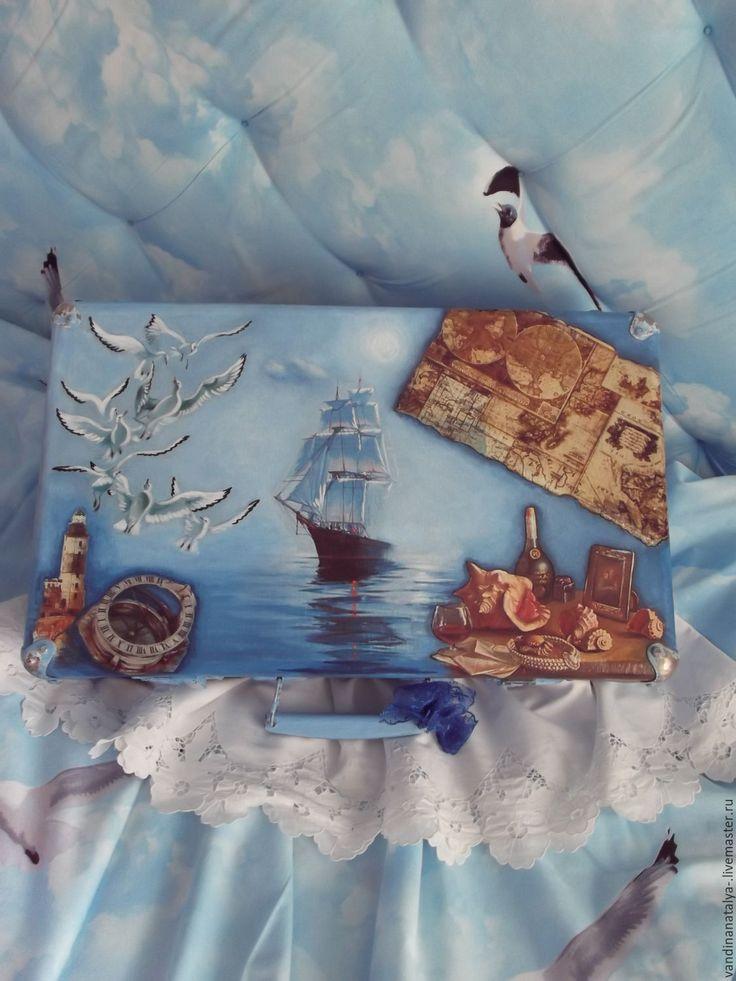"Купить Чемодан ""Синее море"" - чемодан, чемодан декупаж, морской стиль, интерьер…"