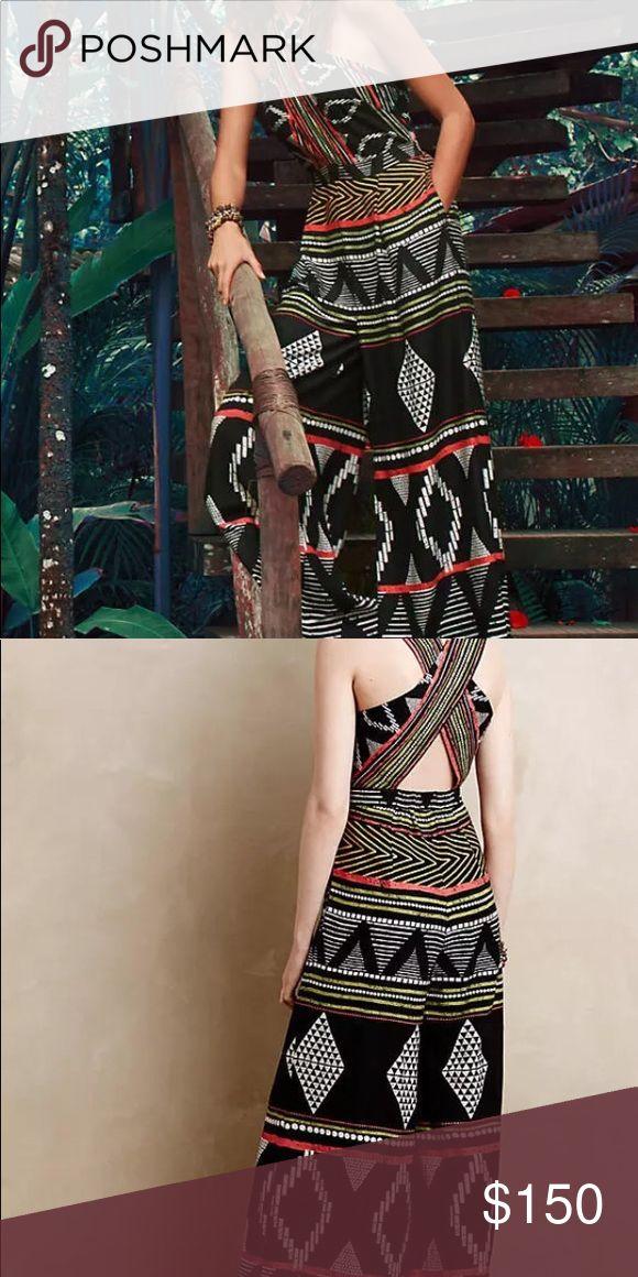HTF Aztec jumpsuit by Elevenses Stunning Aztec jumpsuit!  Palazzo pant/sassy cris-cross top!!! Anthropologie Pants Jumpsuits & Rompers