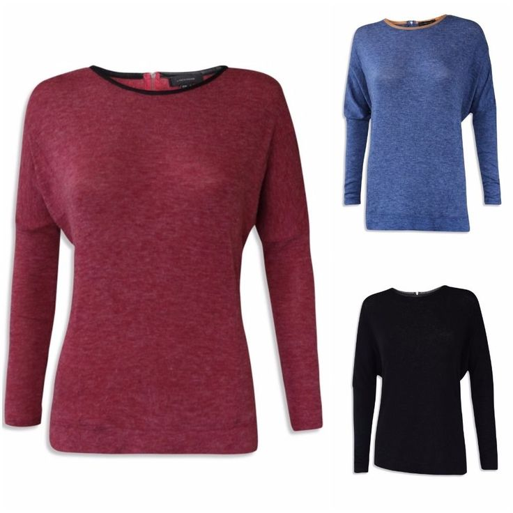 NEW LADIES ATMOSPHERE THIN KNIT PU TRIM LONG SLEEVE TOP RED BLUE BLACK 6 to 20