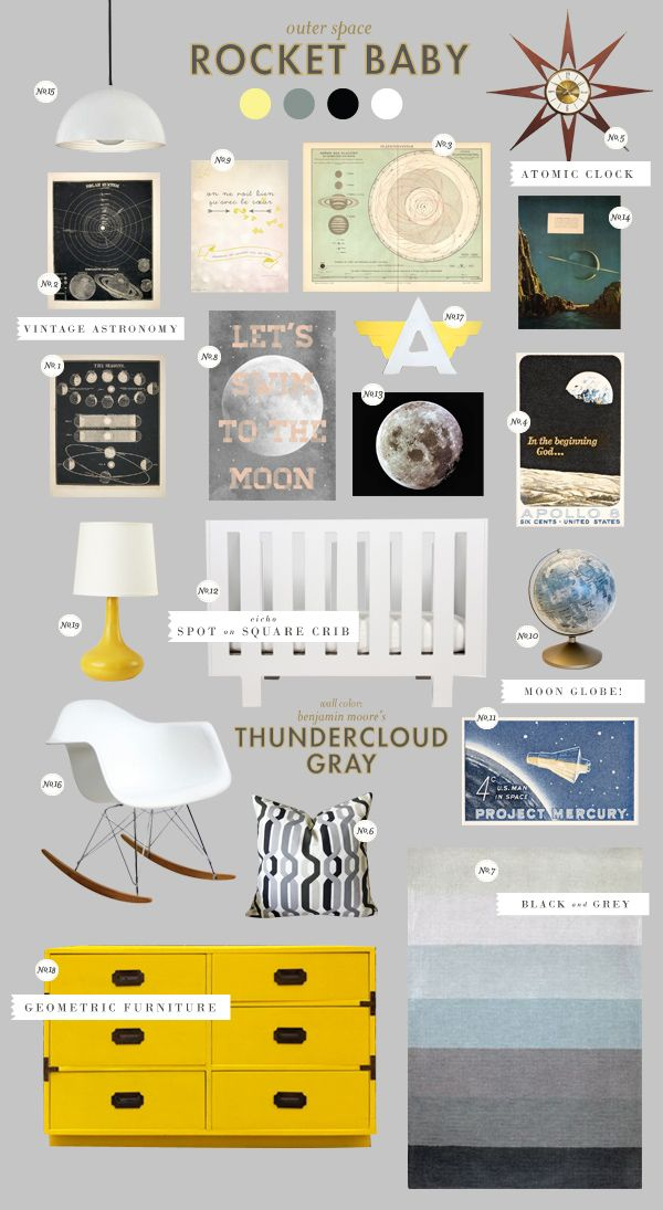 With this much great stuff going on in this nursery, who needs a crib bumper?  Love the Eames rocker and the pops of yellow.  Truly out of this world :)