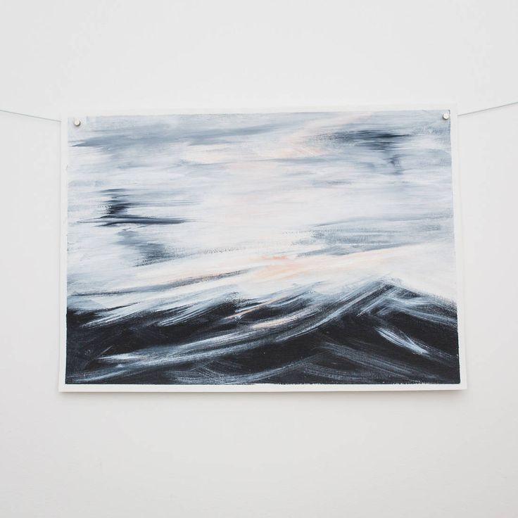 Seascape painting original Ocean waves | Blue ocean beach waves acrylic modern contemporary home by RoseHewartson on Etsy