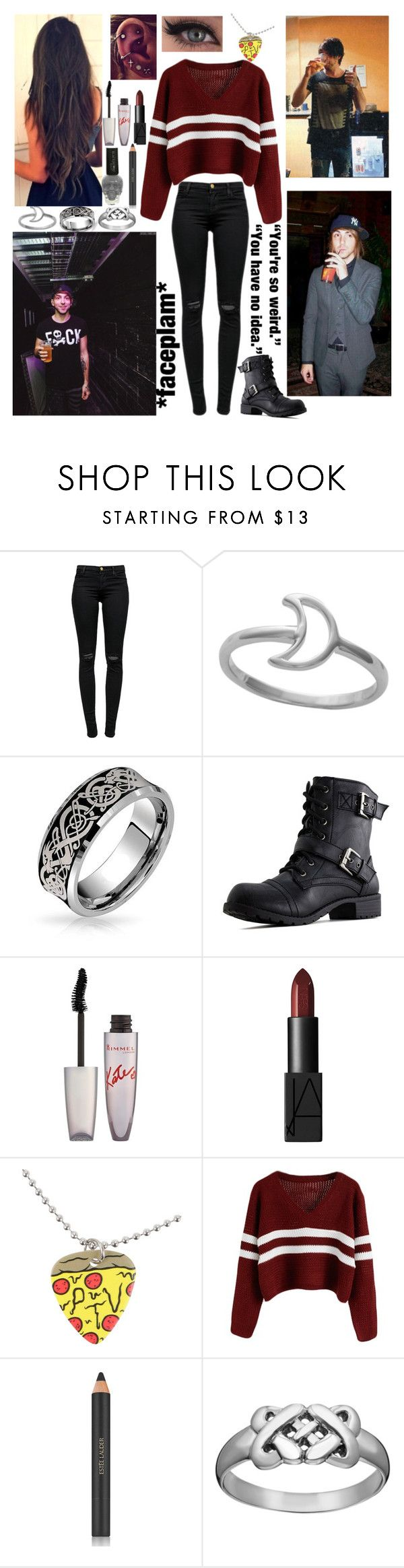 """♫ Hearts on fire tonight, feel my bones ignite. Feels like war, war. Love feels like war, war. ♫"" by band-obsessed-forever ❤ liked on Polyvore featuring J Brand, Bling Jewelry, Rimmel, NARS Cosmetics, KING and Estée Lauder"