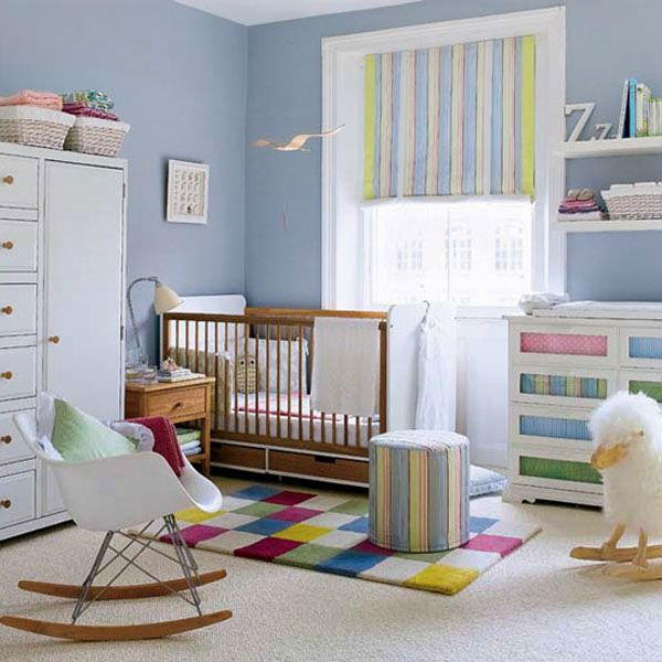 Baby Nursery. Mesmerizing Baby Room Design Ideas: Outstanding Small Baby Bedroom Ideas With Blue Accent Decoration And Unique Colourful Carpet Design ~ wegli