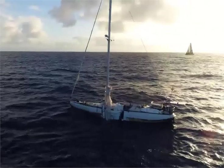 A 'ghost ship' abandoned following a dramatic rescue in the Pacific in October 2017 provides a close encounter for a boat competing in the Volvo Ocean Race