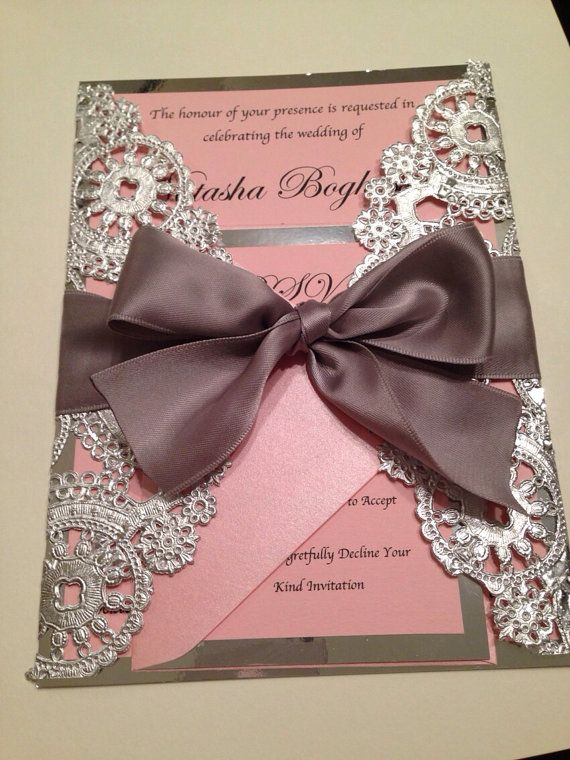 Metallic Doilies Wedding Invitation Suite by InvitationsbyErin
