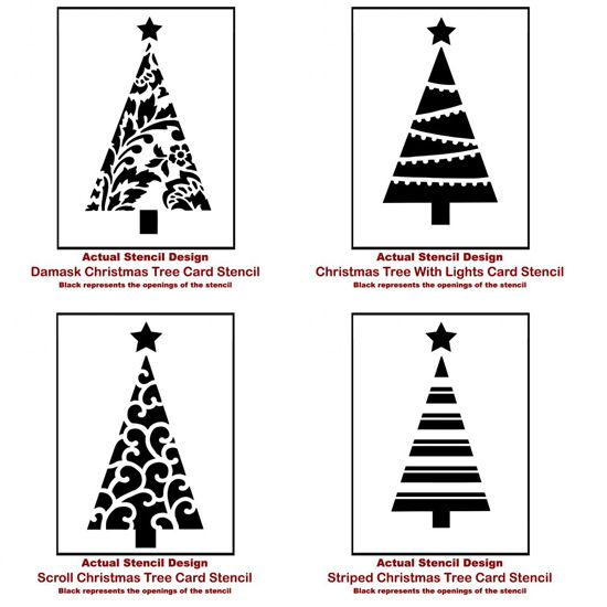 Christmas Tree Card Stencils from Cutting Edge Stencils. http://www.cuttingedgestencils.com/christmas-stencils-valentine-halloween.html