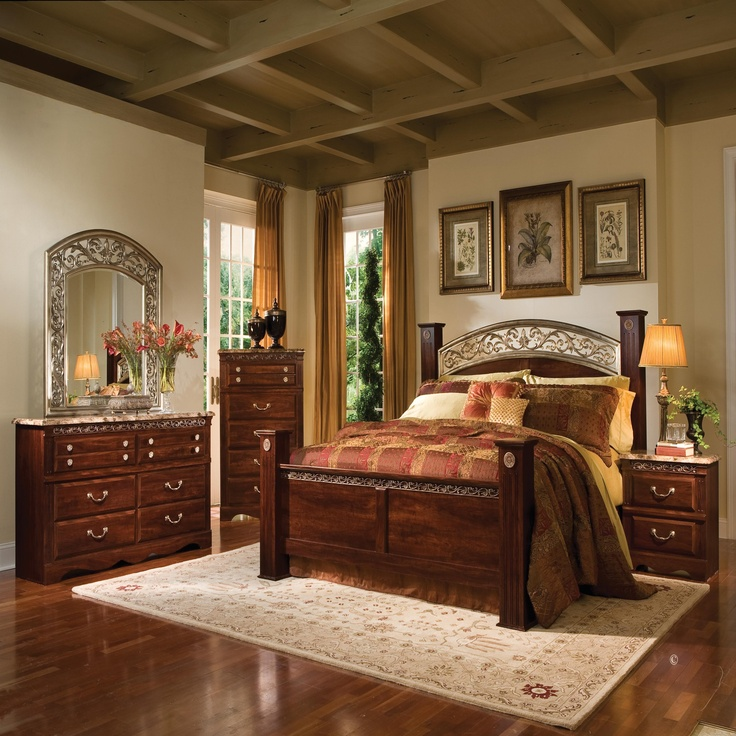 Homelegance English Manor Poster Bedroom Set In Cherry Bed Mattress Sale