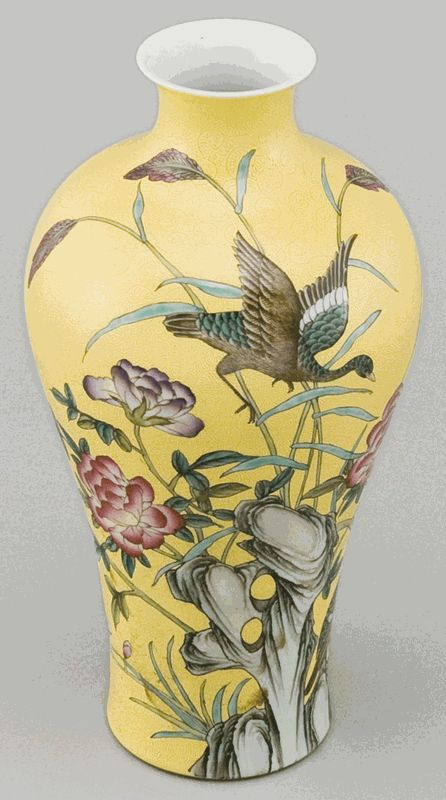 Asian Decor: Hand-Painted Embossed Porcelain Vase from Jingdezhen, China