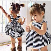 2016 del verano del bebé fija conjuntos de rayas Ruffles chaleco y pantalones ropas para bebé infantil 6M-5Y