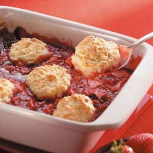 Strawberry Rhubarb Cobbler.  I used pie crust instead of the biscuit topping.  It was perfect!  Not too sweet - just the right amount of sugar to balance the tartness of the rhubarb.  Had it for breakfast. ;)