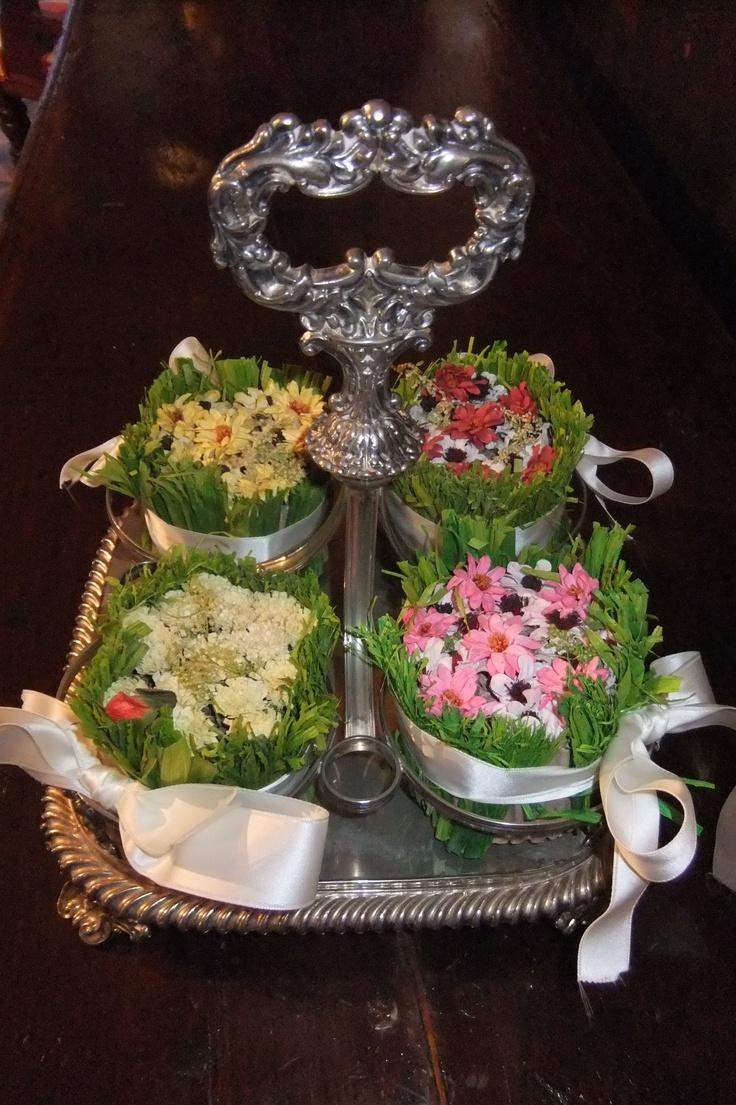 portabottiglie con fiori