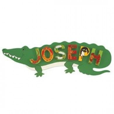Snappy, green crocodile name plaque for use with adventure and animal letters.