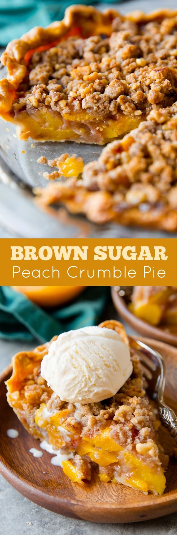With brown sugar and cinnamon, this peach crumble pie is my favorite. The filling holds its shape and the crust is buttery and flaky! Recipe on sallysbakingaddiction.com