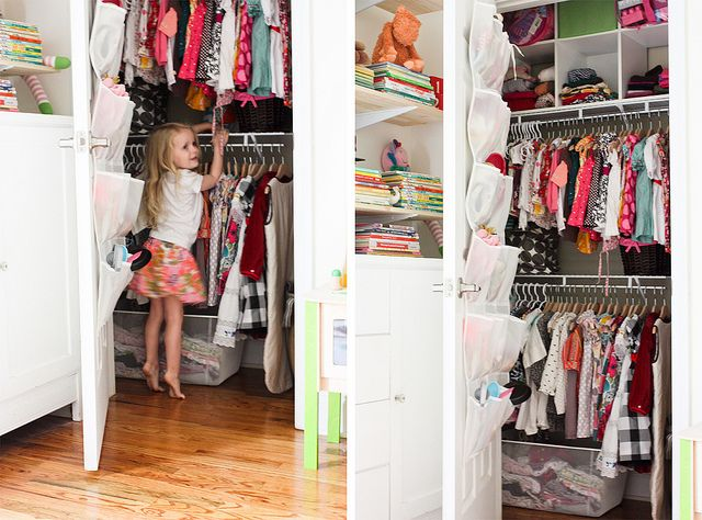 closet re-do by www.lesleywgraham.com, via Flickr - This is a great closet redo and ultra-cute kids closet!