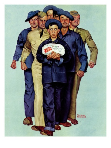 """Willie Gillis' Package from Home"", October 4,1941 Giclee Print by Norman Rockwell at Art.com"