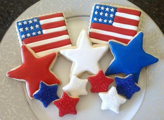 images of patriotic cookies | Patriotic Flag and Star Sugar Cookies Set by SparklingSugarCookie