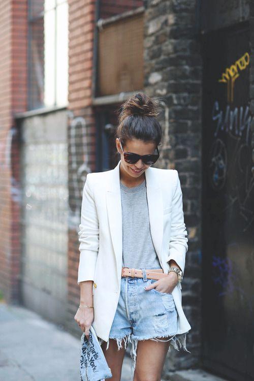 Spring / Summer - street chic style - gray round neck t-shirt + nude belt + denim shorts + white blazer