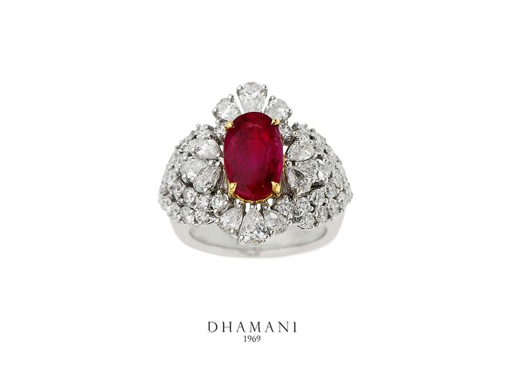 Surprise your loved one with a beautiful #Ruby #Ring studded with #diamonds housed at our #Dhamani1969 boutique.
