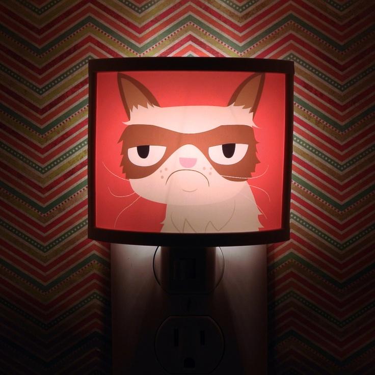 grumpy cat night light negative adorable art by kathleen habbley cute