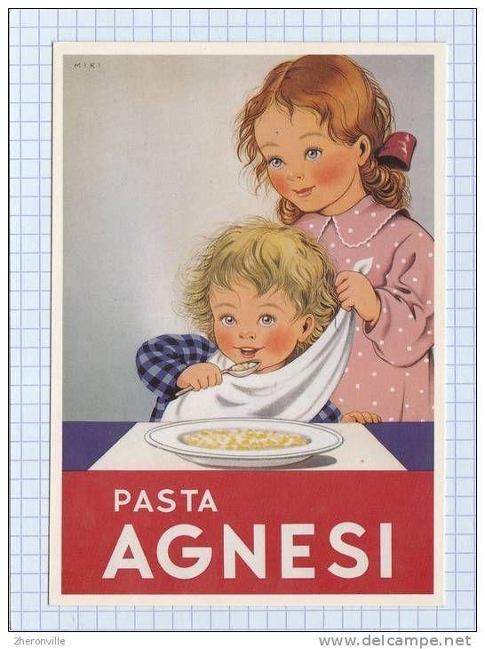 ONEGLIA - Pasta Agnesi - Illustration de MIKI - Enfant - Affiche publicitaire des années 1930