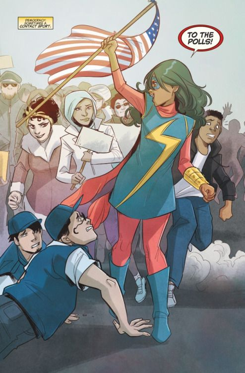 This image shows Ms Marvel as a symbol for freedom and democracy. In what ways is this profound?